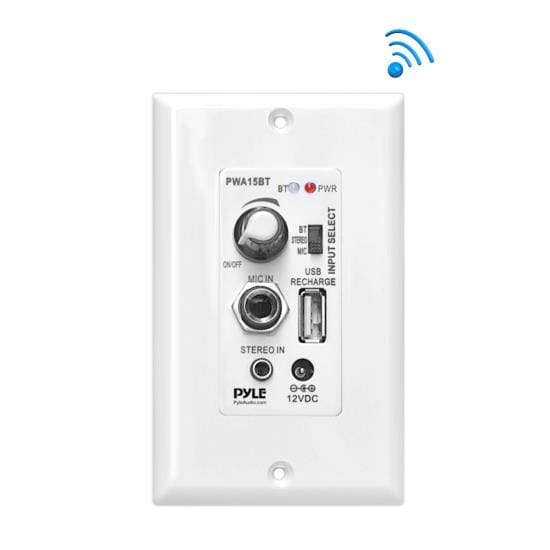 Bluetooth In-Wall Receiver, Wall Plate Audio Control Amplifier (USB, Microphone & Aux Inputs)