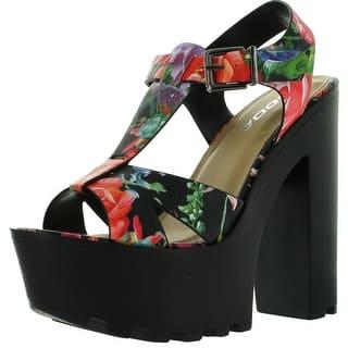 7c5a656f691284 Soda Womens Lab Faux Leather T- Strap Lug Sole Platform High Heel Sandals