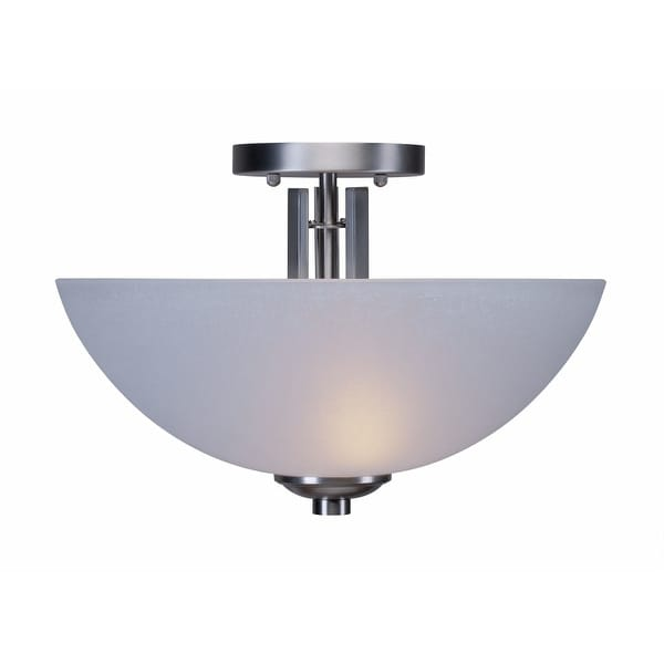 """Forte Lighting 2404-02 2-Light 14"""" Wide Semi-Flush Ceiling Fixture with White Linen Glass Shades - n/a"""