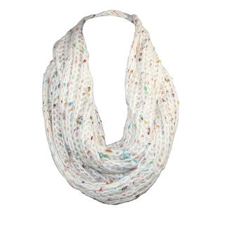 David & Young Womens Rib Knit with Speckles Infinity Loop Winter Scarf - White - One Size