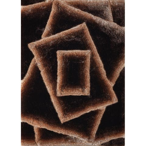 Mateos Shag Collection Brown/Beige Abstract Area Rug