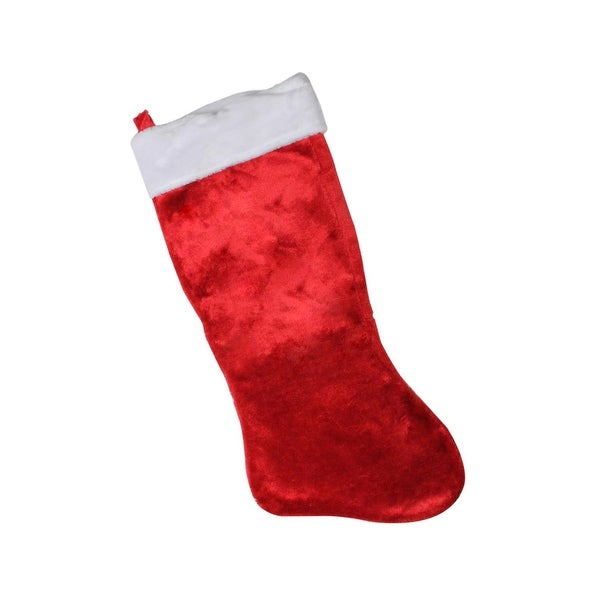 """35"""" Giant Red Plush Classic Christmas Stocking with White Fold Over Cuff"""