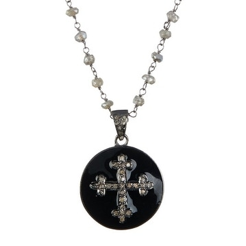 Oxidized Sterling Silver and genuine Diamond Cross & Bakelite Bead Necklace