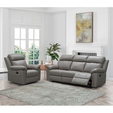 Abbyson Braylen Top Grain Leather Manual Reclining Sofa and Recliner Set