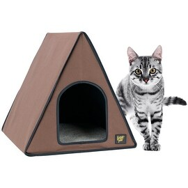 FrontPet 40 Watt Canvas Heated A-Frame Cat House for Outdoor & Indoor Cats.Perfect Cat House for Keeping Newborn Kittens Warm!