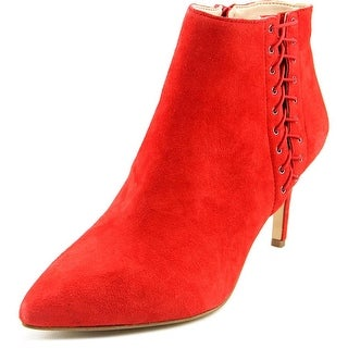 INC International Concepts Tovie Women Pointed Toe Suede Red Bootie