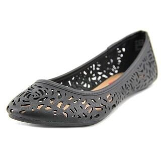 Unionbay Melody-S16 Women Round Toe Leather Black Flats