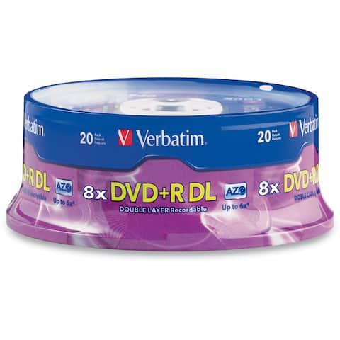 Verbatim 95310 Verbatim DVD+R DL 8.5GB 8X with Branded Surface - 20pk Spindle - 8.5GB - 20pk Spindle