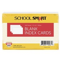 School Smart 90# Blank Index Card, 4 x 6 Inches, White, Pack of 100