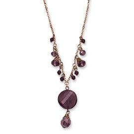 Rosetone Dark Red Crystal Drop Necklace - 16in