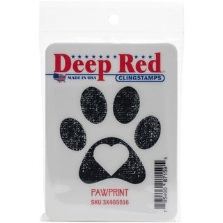 Deep Red Stamps Pawprint Rubber Cling Stamp - 2 x 2