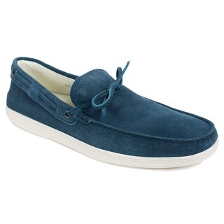 Tod's Mens Navy Suede White Sole Front Tie Moccasins