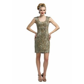 Sue Wong Womens Leopard Print Sequined Party Dress