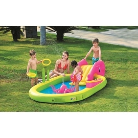 "117"" Ocean Life Themed Inflatable Children's Play Pool with Slide"