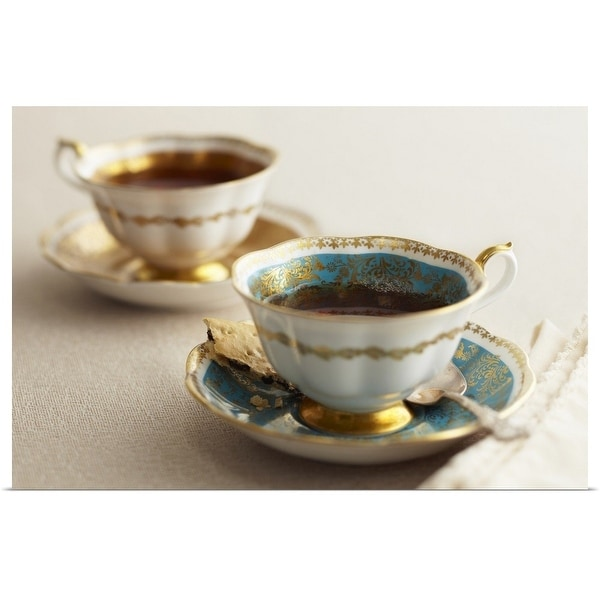 """Elegant tea cups and saucers, close-up"" Poster Print"