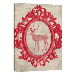"""PTM Images 9-105906  PTM Canvas Collection 10"""" x 8"""" - """"Framed Gazelle in Crimson"""" Giclee Animals Art Print on Canvas"""