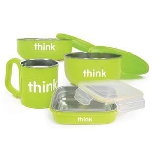 Thinkbaby Feeding Set - BPA Free - Green Bowls and Utensils