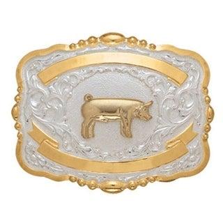 Crumrine Western Belt Buckle Kids Child Show Pig Gold White 384