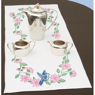 """Stamped Table Runner/Scarf 15""""X42""""-Birds"""