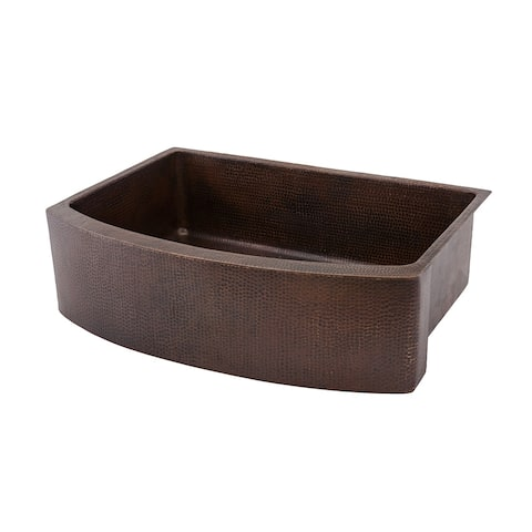 Premier Copper Products KASRDB33249 33-inch Hammered Copper Rounded Apron Front Single Basin Kitchen Sink