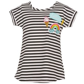Mini Moca Little Girls Black Stripe Icecream Applique Sailor T-Shirt