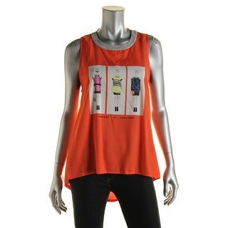 Zara W&B Collection Womens Graphic Ribbed Trim Tank Top