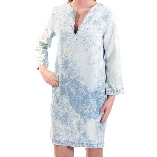 KAREN KANE Womens New 1307 Blue Acid Wash V Neck Long Sleeve Shift Dress XS B+B