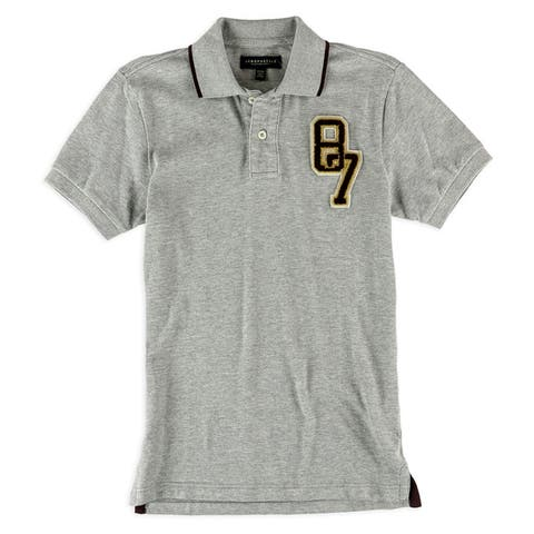 Aeropostale Mens Varsity 87 Rugby Polo Shirt, Grey, X-Small