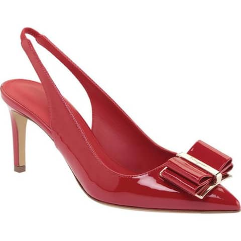 Salvatore Ferragamo Women's Zahir Leather Slingback Heel Lipstick Patent Leather