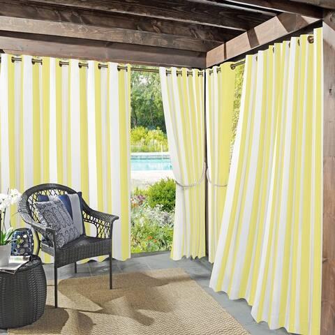 Sun Zero Valencia Cabana Stripe Indoor Outdoor Grommet Curtain Panel