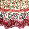 Handmade Lotus Flower Block Print 100% Cotton Tablecloth Red 60x60 Square 60x90 REctangle 72 Inch Round - 60 x 90 inches - Thumbnail 8
