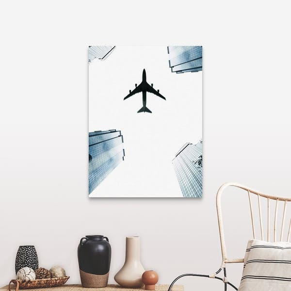 Airplane Flying Above Skyscrapers Canvas Wall Art Overstock 16483377