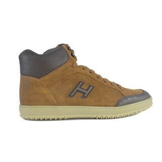 Hogan Mens Tan Brown Suede Lace Up Derby Mid Cut Sneakers