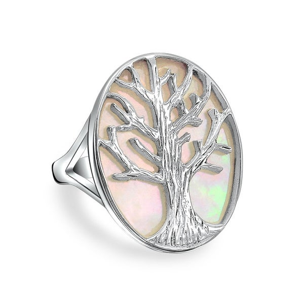 925 Sterling Silver Tree of Life Oval Mother of Pearl Ring - White