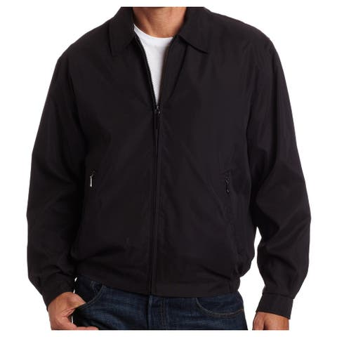 London Fog Mens Auburn Golf Jacket Black Small S Lightweight Collared