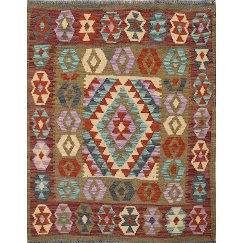 "Wool & Silk South-Western Geometric Kilim Oriental Area Rug Flat-Weave - 3'2"" x 3'4"" Square"