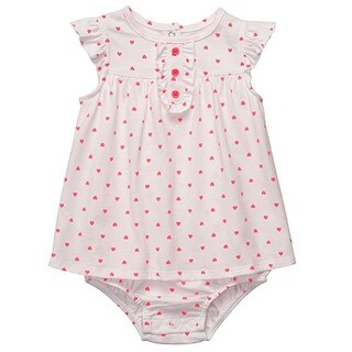 Carter's Baby Girls' White Pink Fluorescent Hearts Romper Dress