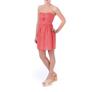Be Bop Womens Juniors Casual Dress Polka Dot Pintuck