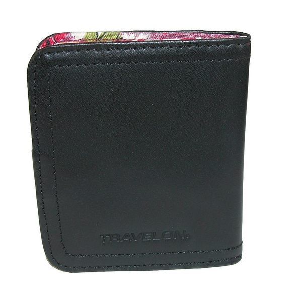 Travelon Women's RFID Blocking Leather Bifold Wallet with Floral Lining - One size