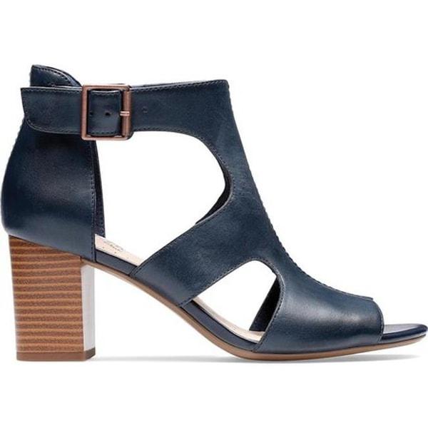 c254a5ad4db Clarks Women's Deva Heidi Heeled Sandal Navy Leather