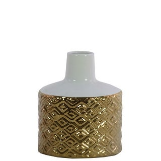 Round Ceramic Vase With Engraved Double Diamond Pattern, Small, Gold And White