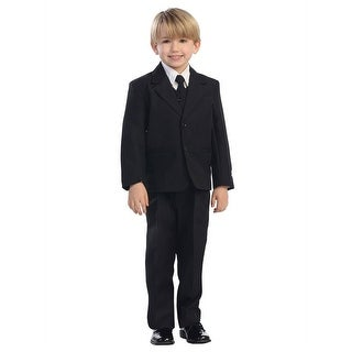 Little Boys Black Single Breasted Jacket Vest Shirt Tie Pants 5 Pc Suit