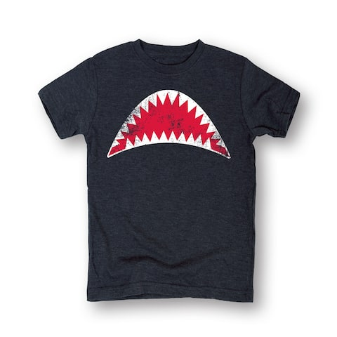 Open Shark Jaws Mouth Grey Short Sleeve T-Shirt For Boys