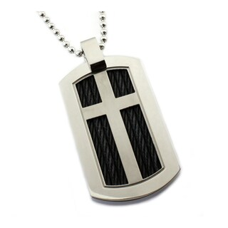 Men's Titanium Dog Tag with Black Cable Inlay on 24 Inch Steel Bead Chain