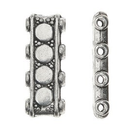 Lead-Free Pewter Beads, 4 Strand Spacer Bar 6x17mm, 6 Pieces, Antiqued Silver