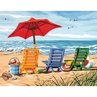 """Beach Chair Trio - Paint Works Paint By Number Kit 14""""X11"""""""