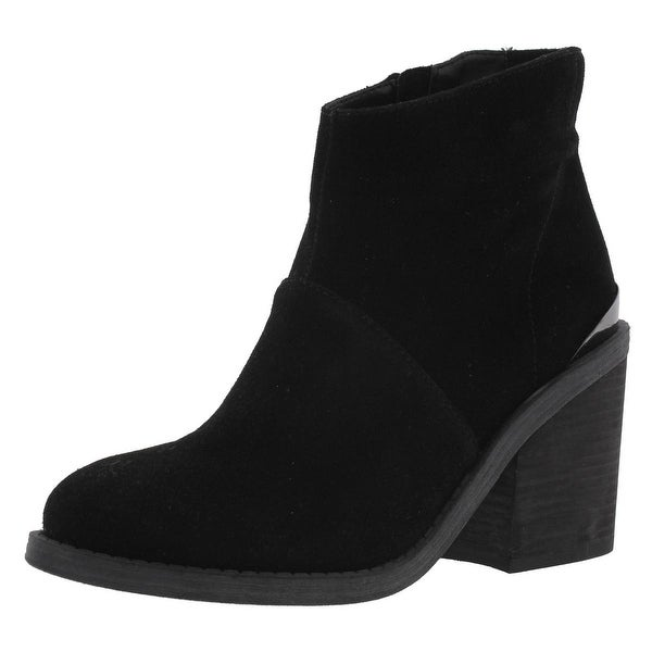 Steve Madden Womens Shutter Ankle Boots Faux Suede Stacked Heel