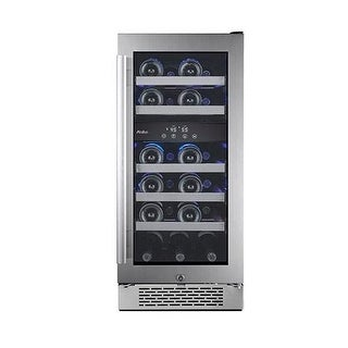 Avallon AWC151DZLH 15 Inch Wide 23 Bottle Capacity Dual Zone Wine Cooler with Le