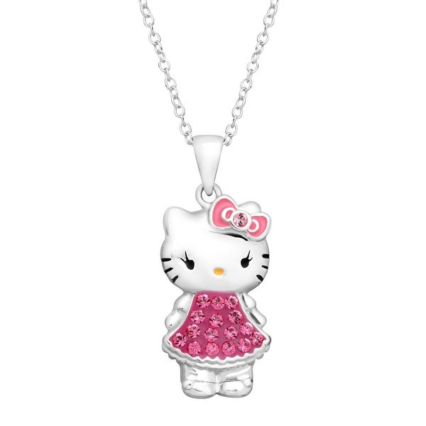 Hello Kitty Pendant with Pink Swarovski Crystal in Sterling Silver