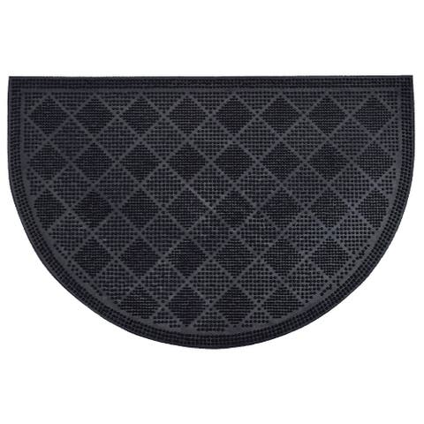 Outdoor Half Round Front Door Mat Drew Checkerboard Rubber Rug 24x16 Black